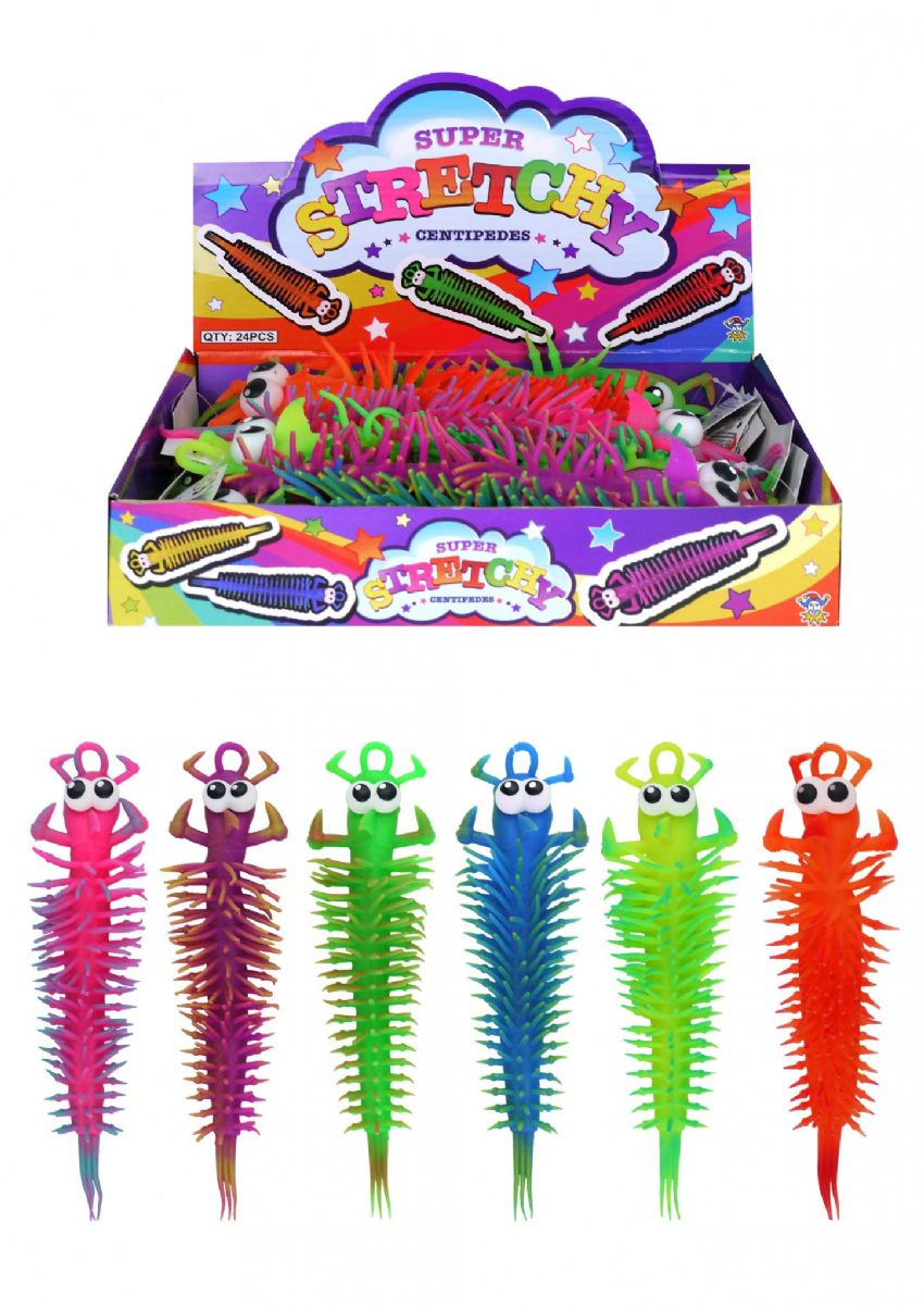 24 x Super Stretchy Centipedes Large Stretchies - Wholesale Bulk Buy